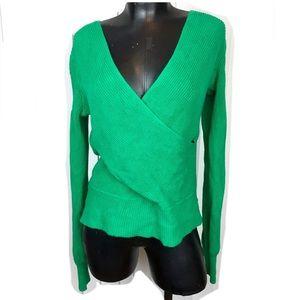 MOTH Kelly Green Criss Cross V-Neck Sweater M
